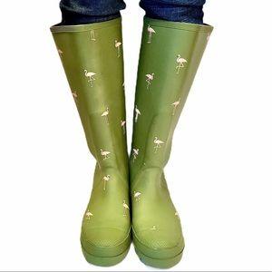 J.Crew Rubber Green/Flamingo Print Rain Boots SZ-7